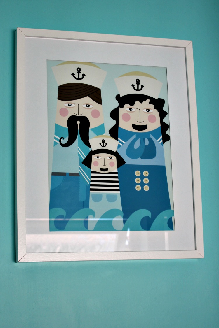 A nautical themed print from Etsy. Please note that the bathroom houses the only prints in our house with mounts. One day I will reframe them....I know, I know, yes I am a fussy fart!