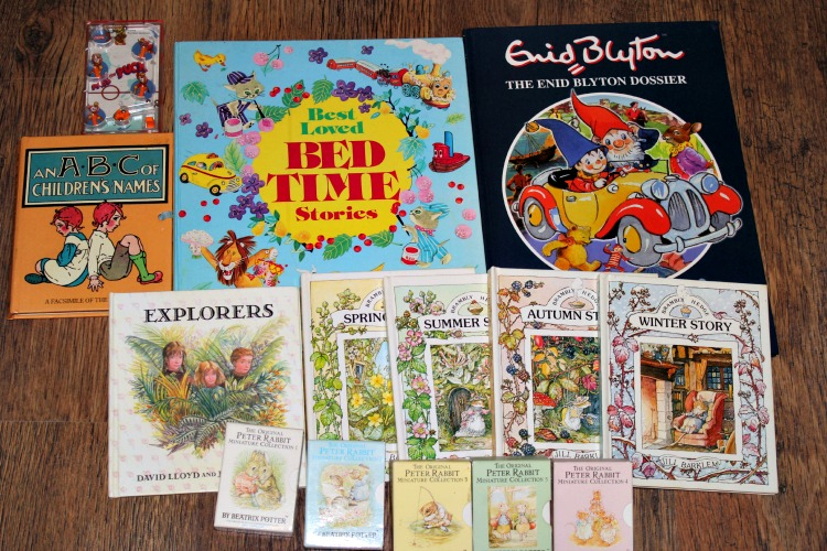 Books from my childhood that I kept because I liked the design and illustrations. Plus a old skool game that hurt my fingers and a book about Enid Blyton books that my Mum got me for xmas one year in my late teens.