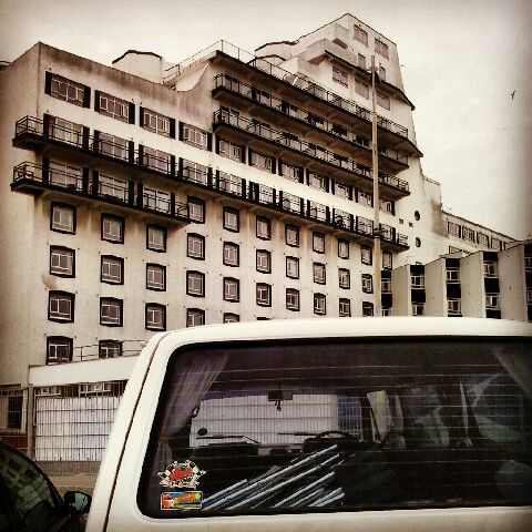 The only photo I took of Folkestone's ferry shaped hotel on our day out