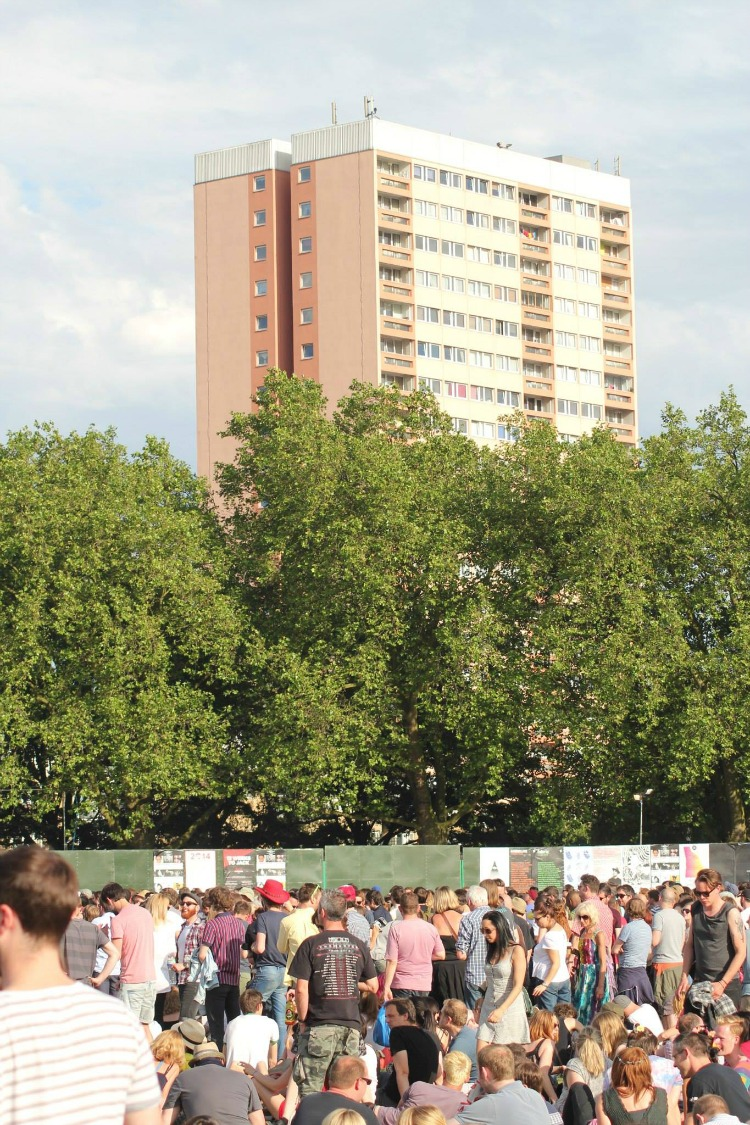 A pink tower block and more crowds